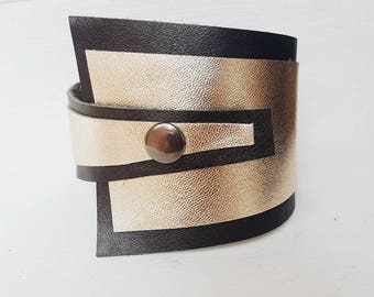 Bronze Gold Leather Bracelet for women, leather cuff, Cuff Bracelet, wide leather strap, asymmetrical leather bracelet ladies, Lemore