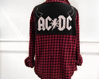 Ac/dc Flannel Tee Vintage 1980's soft red and black check flannel men's but fits more like a small ac/dc t shirt sewn on back