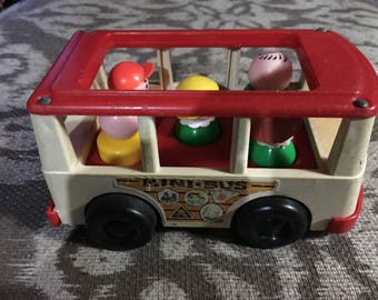 Vintage 1970 Fisher Price Family Mini Bus #141