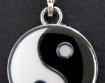 Yin Yang pendant enameled with carabiner 33 x 20mm