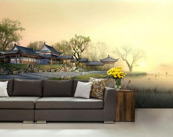 Japanese wallpaper, Chinese wall mural, Japanese decal, Chinese wallpaper, Samurai wallpaper, pattern wallpaper, Japanese wall decal, Tokyo