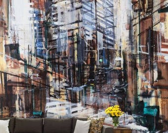 oil painting city wallpaper, Architecture painting decal, Architecture wallpaper, city painting, city construction wall decal, painting art