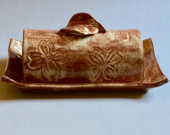 Pottery Covered Butter Dish