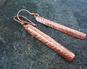 Long copper earrings,  Hammered copper jewelry, Copper earrings, Gold color earrings, Elegant earrings, Bar earrings, Dangle earrings