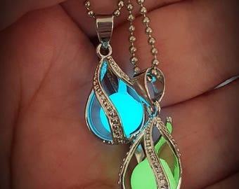 Mermaid tears glow in the dark necklace