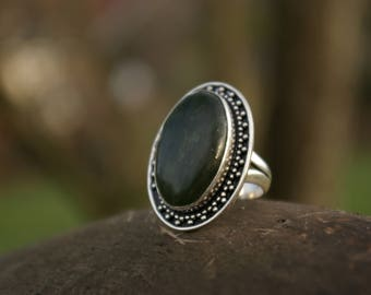 Green agate ring size 55 or 7 US, stone of release