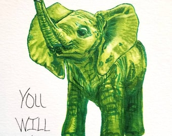 5x7 Baby elephant illustrated print / Big Dreams Quote /green baby Animal picture / great gift for baby shower / happy and cute wall art