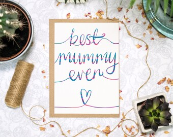 Best Mummy Ever   Mum Birthday Card   Mummy Birthday Card   Mum Thank You Card   Thank You Mum   Mom Card   Mother Card   Mumma Card  