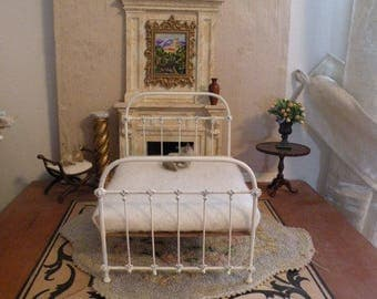 "NEW!! Our ""CHIC & CHEAP"" line is now live!  Artisan Made Dollhouse Miniature Wrought Iron Look Bed ""Leah"" 1:12 Scale, Twin and Full"