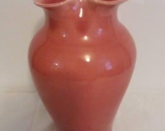 Sarreguemines French Majolica Pink Art Noveau Vase circa 1900s