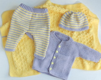 knitted baby clothes baby boy coming home outfit, baby girl, winter clothes pack, unisex knitted clothing, yellow baby blanket, ecofriendly