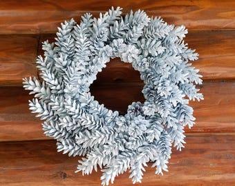White Pine Cone Wreath, Pure White Wreath, Holiday Wreath, Winter Wreath, Christmas Wreath, Snow White Wreath, Rustic Wreath, Wedding Wreath