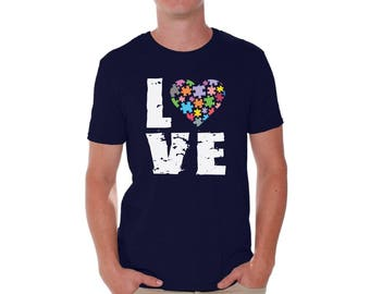 Autism Awareness Shirt Love Puzzles T shirts for Men Shirts  Tshirts Tops Tees Autistic Support Puzzle Piece ASD Autism Awareness Shirt