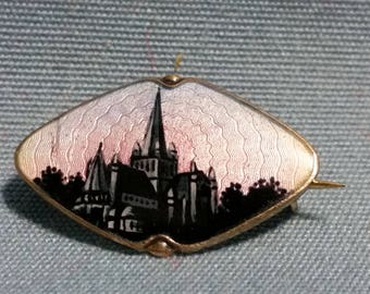 OXO H. C. Ostrem Guilloche Enamel Sterling Brooch of Nidaros Cathedral