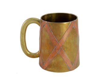 Vintage Brass and Copper Mug, Vintage Barware, Copper, Brass, Mug, Moscow Mule, Beer Stein, Stein, Man Cave, Bar Cart, Gift of Him