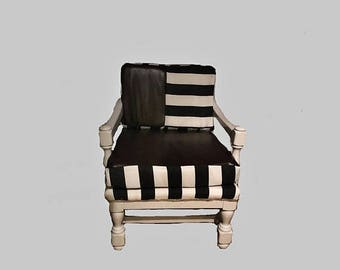 ON SALE Mid-century modern armchair indoor/outdoor black and white stripe with leather