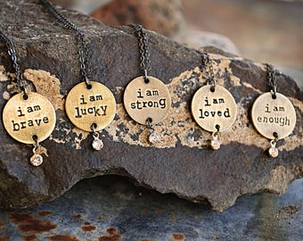 I Am Statement Necklace - Loved - Brave - Enough - Lucky - Strong