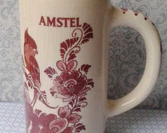 DELFT red, handpainted, large mug, Cup, Amstel, beer, pul, Delft red, bird, Made in Holland