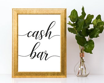 Cash Bar Sign Downloadable PDF Wedding Printable Engagement Party