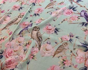 SILK Chiffon Fabric by the Yard Printed Silk Fabric Print Chiffon Fabric Pattern Print Fabric Birds