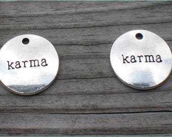 Silver Karma Charms. Set of 4. Charm Findings