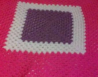 Large Pretty n Pink, White and Orchid Blanchet w/ Orchid Trim
