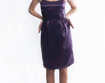 new satin prom dress by Yantar/short satin dress/Purple floor length evening dress, bridesmaid dress, sleeveless prom dress,  Ready to ship