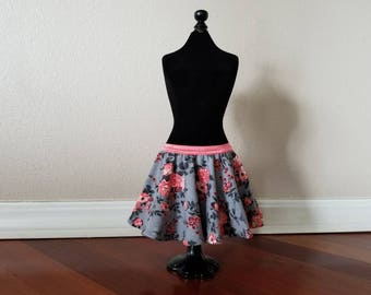 Gray Floral Baby Skirt
