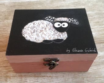 Small black sheep with hand painted wooden box
