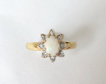 Vintage 1980's Opal Gold Plated Flower Ring Size P