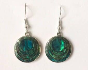 Vintage 1960's Green Enamel Round Dangle Drop Earrings M&S
