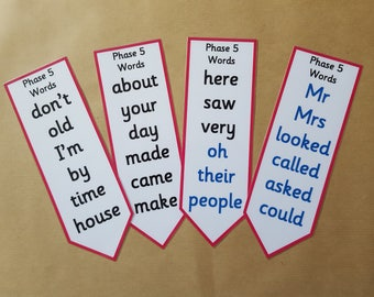 Phase 5 Phonics Bookmarks - Literacy, letters and sounds, EYFS, early learning, key words, reception, tricky words,