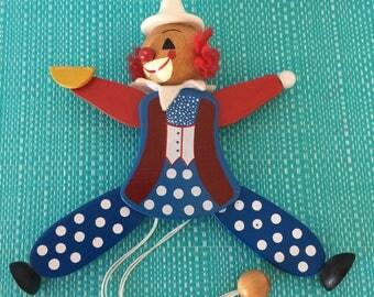 Vintage wooden toy Clown Arlekino collectible 1980's