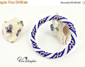 CIJ SALE Seed Bead Bracelet, Nautical Bracelet, Beach jewelry, Sea Beaded Bangles, Blue White Striped Bracelet, Roll on Bead Crochet Rope Br