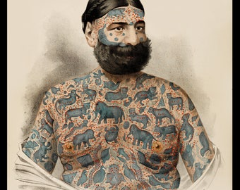Tattoo Art, Captain Costentenus, Tattooed Animals, Vintage Poster, Vintage Art Print, Tattoo Decor, Wall Art