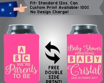 ABC We're Parents to be Baby Shower Honoring Baby Name Due Date Collapsible Neoprene Baby Shower Can Cooler Double Side Print (BS13)
