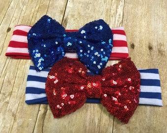 Sparkly bow headband, 4th of July headband