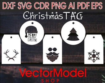 Christmas tag, new year 2018, wooden paper laser svg cut CNC File Vector Art DXF CAD Silhouette Template souvenir shape model
