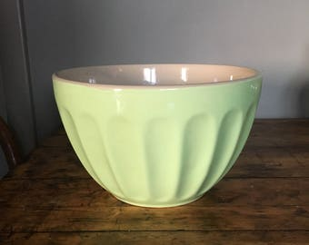 Vintage lime or celery colored stoneware mixing bowl Bright light green stoneware mixing serving bowl vintage large green mixing bowl old