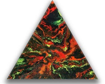 Firey Summit 50cm triangular wood panel fluid pour with resin coat