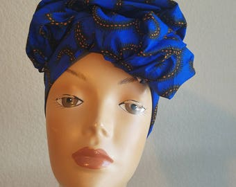 Blue Head wrap;Blue African Headwrap; African Clothing; African Fabric Headwrap; African Scarf; Fabric Headwrap: Headwrap; Head tie
