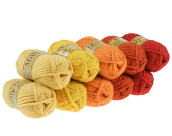 10 x 50 g wool color mix: Fire, knitting felting wool 100% wool