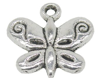 "50 Charm Pendant ""Butterfly"", 13 x 13 mm, Silver"