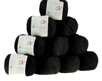 10 x 50g knitted yarn cotton marble, #01 black