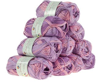 10 x 50 g knitting wool cotton Queen multi, #10454 lilac tones