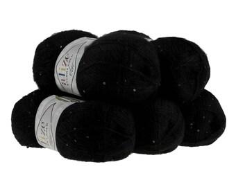 5 x 100 g sequin yarn ANGORA GOLD STAR, #60 Black