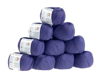 10 x 50 g knitting wool cotton breeze, #75 blue violet
