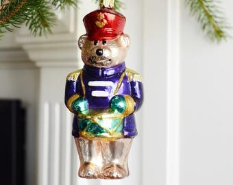 Large Vintage Christmas Ornament Bear The Drummer Boy Holiday Home Decor
