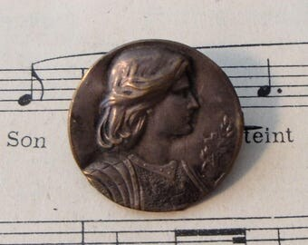 Antique French Art Nouveau Joan of Arc Pin / Brooch c1920