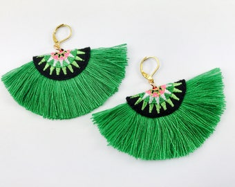 Green Bohemian Style, Tassels Earrings // Dangle Earrings